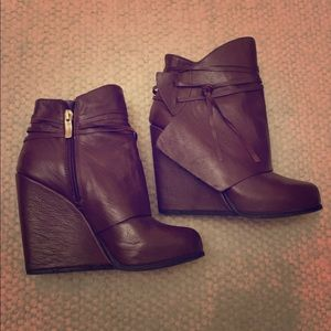Brown Wedge Boot